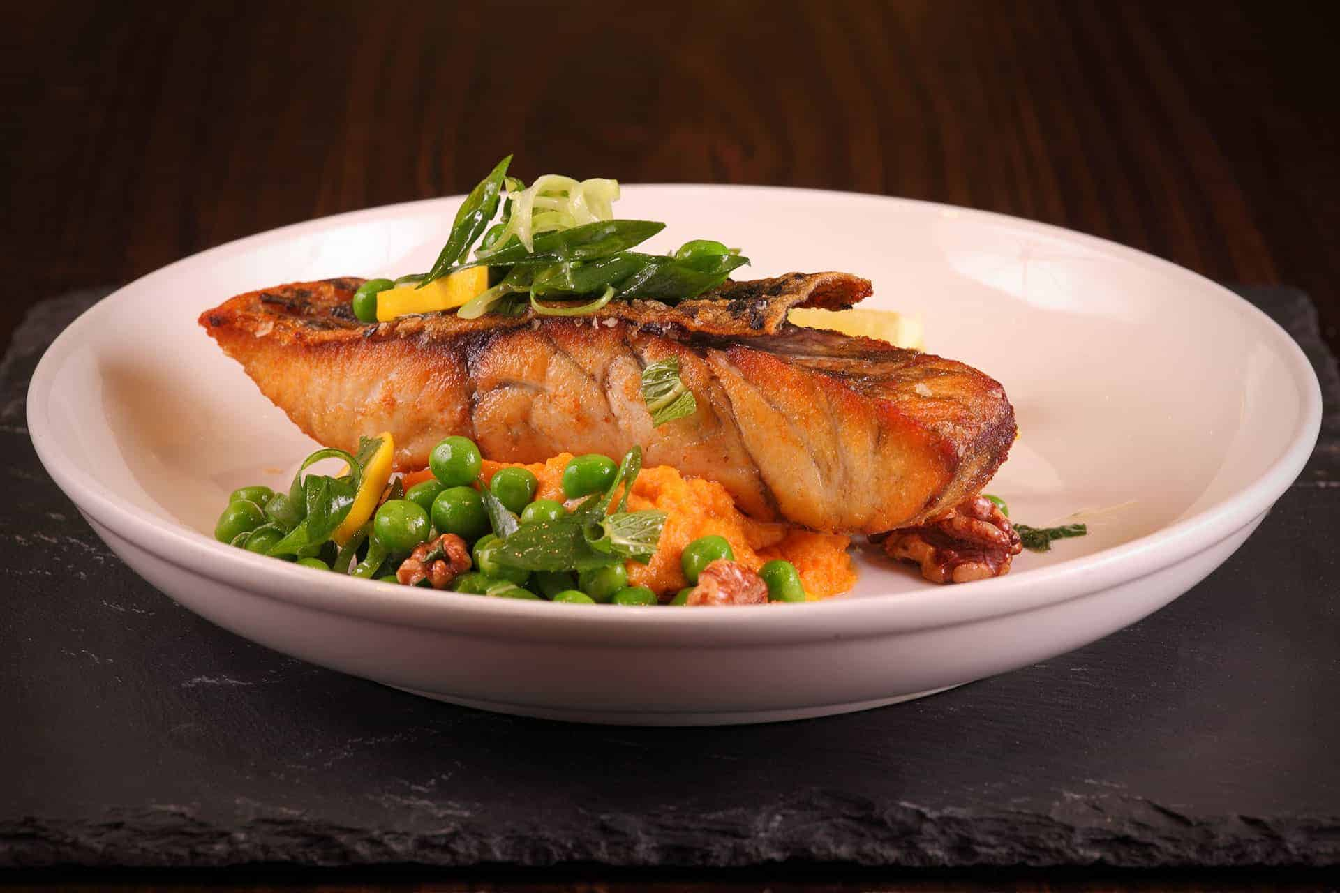 Salmon Steak lunch for dine in, delivery or take away from Bar Cupola Cafe Restaurant Angel Place Sydney