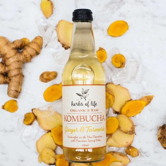 Ginger and Tumeric Kombucha for dine in, delivery or take away from Bar Cupola Cafe Restaurant Angel Place Sydney