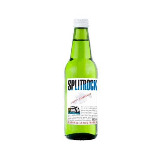 Split Rock sparkling 330ml water served at Bar Cupola cafe located in Sydney CBD